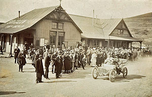 1905 International Tourist Trophy - Race winner John Napier, passing The Bungalow