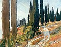 John Singer Sargent - A Winding Road and Cypress Trees, San Vigilio 1913.jpg