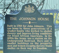 Photo of John Johnson and Johnson House blue plaque