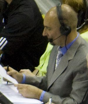 Jon Barry - Barry working the San Antonio Spurs-Orlando Magic game for ESPN's NBA Wednesday on March 17, 2010.