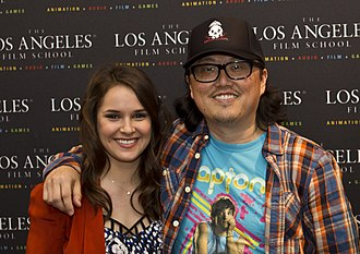 Detention (2011 film) - Director Joseph Kahn and actress Shanley Caswell at the screening of Detention at the LA Film School, April 2012.