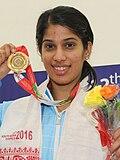 Joshna met haar gouden medaille op de Zuid-Aziatische Spelen 2016