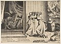 Judith passing the head of Holofernes to her maidservant, the decapitated Holofernes inside the tent at left MET DP812772.jpg