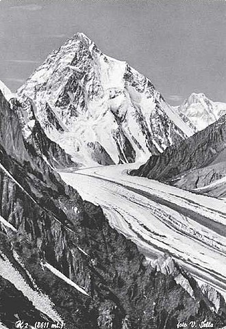 1954 Italian Karakoram expedition to K2 - K2 from Godwin-Austen Glacier (photo Sella 1909)
