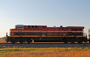 GE AC4400CW - Kansas City Southern AC4400CW no. 4575 with self-steering trucks in October 2014