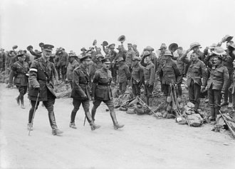 Alexander Godley - Godley (left front holding cane) with King George V, inspecting the New Zealand Division, August 1916