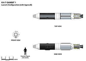 KH-7 Gambit - KH-7 GAMBIT 1 launch configuration (with Agena D service module)