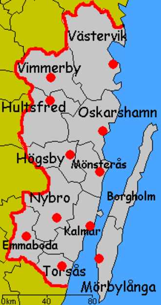 Kalmar County - Map of municipalities
