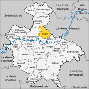 Bingen, Baden-Württemberg - Image: Karte Bingen (bei Sigmaringen)