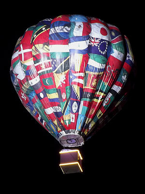 2013 Summer Universiade - Flags of participating nations on balloon at closing ceremony