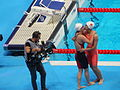 Kazan 2015 - Fu and Liu celebrate their triumph at 50m backstroke in Kazan (2).JPG