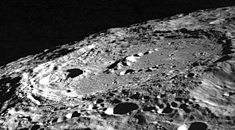 Keeler (lunar crater) - Oblique photo of Keeler from Apollo 10