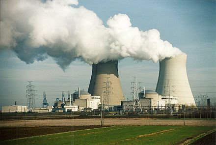 Some nuclear reactors in operation release clouds of non-radioactive water vapor to get rid of waste heat. Pictured: Doel Nuclear Power Station Kerncentrale Doel in werking.jpg