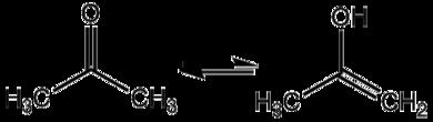 Keto-Enol-Tautomerie zwischen Aceton und 2-Propenol.