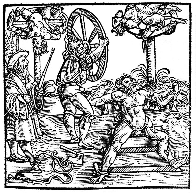 Darstellung des Räderns. Holzschnitt aus der Schweizer Chronik des Johann Stumpf (Ausgabe Augsburg 1586)