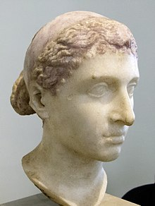 Photograph of an ancient Roman marble sculpture of Cleopatra VII's head as displayed at the Altes Museum in Berlin