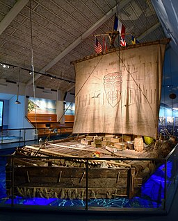 <i>Kon-Tiki</i> expedition 1947 journey by raft across the Pacific Ocean from South America to the Polynesian islands