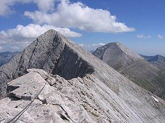 Pyramidal peak - Kutelo and Vihren viewed from Koncheto, Pirin Mountain, Bulgaria