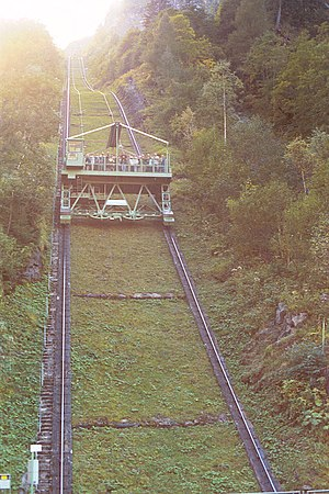 Incline elevator - The Lärchwandschrägaufzug in High Tauern National Park in Kaprun, Austria