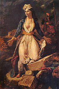 La Grèce sur les ruines de Missolonghi, Eugène Delacroix, 1827