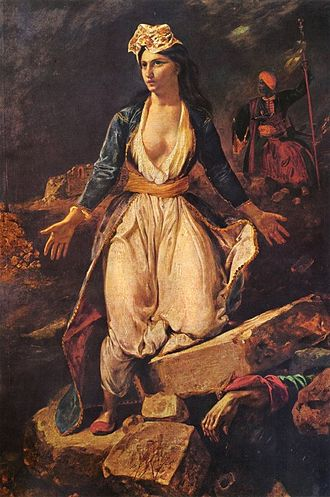 Morea expedition - Delacroix, Greece Expiring on the Ruins of Missolonghi. This painting played an important role in the public opinion campaign in the West that led to an intervention.