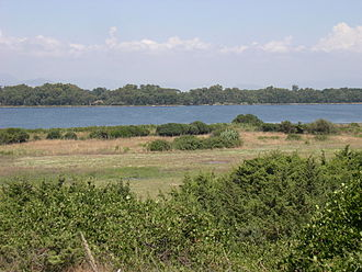 Pontine Marshes - Lake Fogliano, a coastal lagoon in the Pontine Plain.