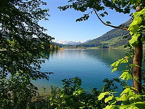 Lake Ägeri (Ägerisee) at Morgarten.jpg