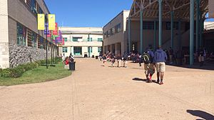 Lamar High School (Houston) - Courtyard of Lamar High School. Lamar students wearing school uniforms are visible in this picture.