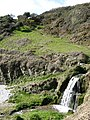Lansallos, waterfall onto the beach - geograph.org.uk - 366822.jpg