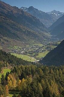 Le Châble village in Bagnes, Valais, Switzerland