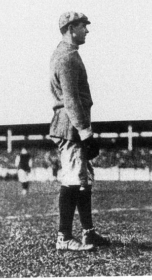 Leigh Richmond Roose - Roose models the typical attire of an Edwardian goalkeeper in an uncredited photo of c.1905. Note the apparent absence of shinpads and switch from iconic white gloves.