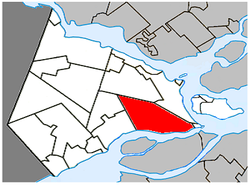 Location within Vaudreuil-Soulanges Regional County Municipality.