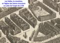Les Halles, le cimetière et l'église des Saints-Innocents sur plan de Turgot.png