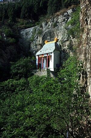Mount Liantai - Small cliff-side temple on Mount Liantai.