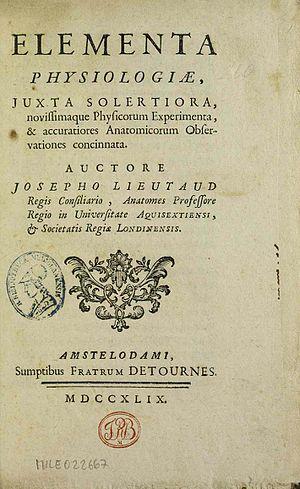 Joseph Lieutaud - Elementa physiologiae, 1749