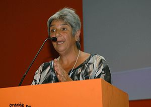 Operation Condor - Lilian Celiberti during a speech in the World Social Forum. Porto Alegre, 2010.