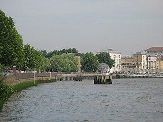 Deptford Wharf - The river wall at Deptford Wharf