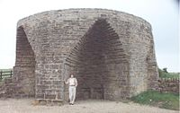 Large 19th-century single limekiln at Crindledykes near Housesteads Northumbria