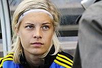 Lina Hurtig under en træning med landsholdet i juni 2013.