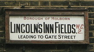 Lincoln's Inn Fields - Street sign