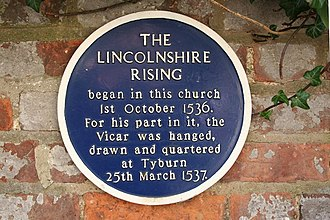 Louth, Lincolnshire - Lincolnshire Rising plaque in Louth