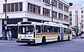 Loaned Renault dual-mode bus on route 43 in downtown Seattle June 1983.jpg
