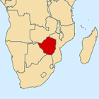 Location of Rhodesia (now Zimbabwe) in southern Africa