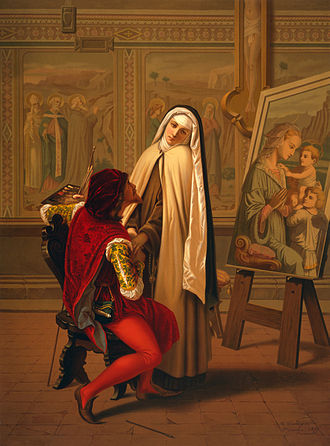 "Chromolithography - ""Love or Duty"", a chromolithograph by Gabriele Castagnola, 1873"