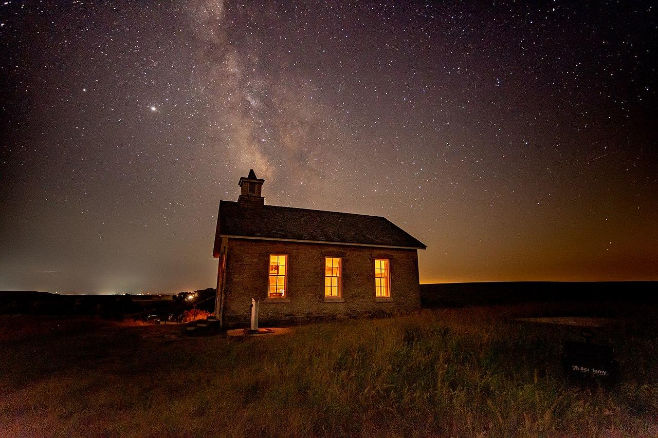 Lower Fox Creek School on a clear summer night on the Kansas prairie.jpg