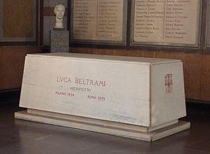 Luca Beltrami - Beltrami's grave at the Cimitero Monumentale in Milan, in 2015