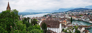 Lucerne city, lake and mountains
