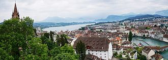 Lucerne - Lucerne city, lake and mountains view from the tower