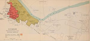 Siege of Lucknow - Lucknow, Intrenched Position of the British garrison map, 1911