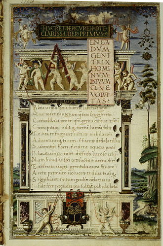 De rerum natura - Opening of the 1483 manuscript copy of De rerum natura by Girolamo di Matteo de Tauris, which had been copied for Pope Sixtus IV.